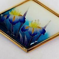 Vintage Gold Tone Enamel IRIS Flower Brooch PinSigned