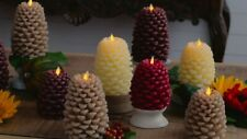 """Martha Stewart Set of (2) 5"""" & 6"""" Figural Pinecone Candle with Remote - MUSHROOM"""