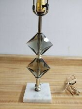 Vintage MCM smokey faceted crystal lamp w/Italian marble base.