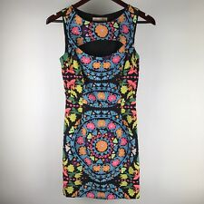 6154151dd775 Mara Hoffman Neon Suzani Mini Dress Sheath Cocktail Cutout Geo Black Size 0  XS