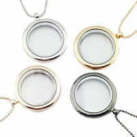 New Floating Living Memory Glass Round Locket Charms Pendant Necklace Jewelry