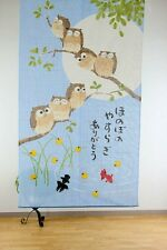 JAPANESE Noren Curtain NEW OWL BIRD KINGYO FISH MADE IN JAPAN