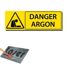 """Plaque gravée autocollante 30x10 cm """"Danger argon"""" fond jaune"""