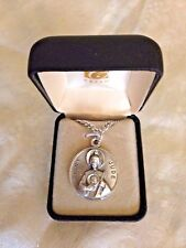 """CREED NEW """" SAINT JUDE MEDAL"""" Stainless Silver 24"""" Chain, leatherette case 82757"""