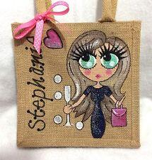 Personalised Hand painted Personalised Celebration Jute Mini Gift Bag 20x20 cm