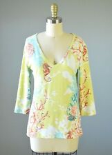 BARBARA GERWIT Green Coral Seahorse Stretch V-Neck Top Size Small