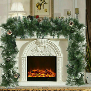 9ft Christmas Garland XMAS Decorations Pre-Lit UP Fireplace Wreath UK Pine Cones