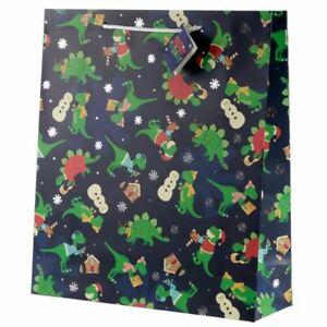 Christmas Dinosaur Gift Bag - Extra Large, Xmas Gift/Present/Stocking Filler