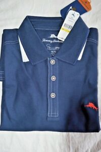 $90 NWT Tommy Bahama Navy Emfielder S M & L Supima pique POLO Short sleeve shirt