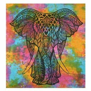 TWIN PSYCHEDELIC TIE-DYE HIPPIE ELEPHANT TAPESTRY COTTON HOME DECOR WALL HANGING