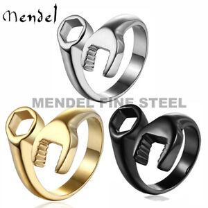MENDEL Mens Biker Mechanic Wrench Ring for Men Stainless Steel Size Size 7-15