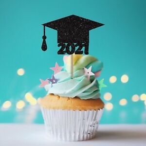Graduation Cake Toppers Black Glitter 2021 Graduation Toppers Cap Cupcake Picks