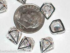 2pc miniature dollhouse tiny Diamond shaped Crystal ring floating flatback 10mm