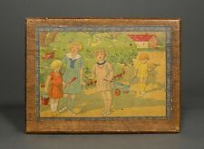 "Old French Wooden Box ""Children Playing in the Park"""