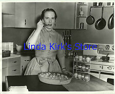 Dione Lucas Photograph Tasting Food On Cooking Show Set CBS-TV B&W