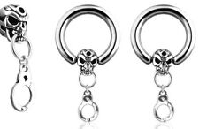 PAIR Skull & Handcuff Surgical Steel Captive Bead Rings for ears, nipples (S187)