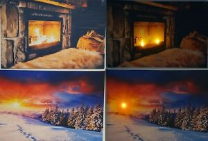Large LED Light Up Winter Canvas 40cm X 60cm Glowing Log Fire Sunset Scenes Xmas