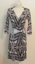 Diane von Furstenberg New Julian two Diamond Maze wrap dress 10 black white gray