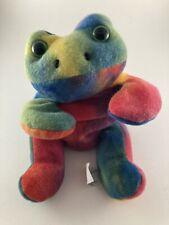 ⭐️ Great American Fun Corp Tie Dye Frog Plush Toy Vintage 🎏