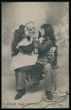 Grand Father & children play games original 1900s photo postcard lot set of 10