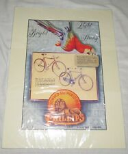 Phillips Bicycles Vintage 9.5 x 14.25 inch matted Poster with Scarlet Macaw