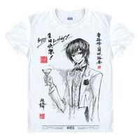 Code Geass Anime Otaku Cosplay Short Sleeve White Crewneck T-Shirt Tops #Y73
