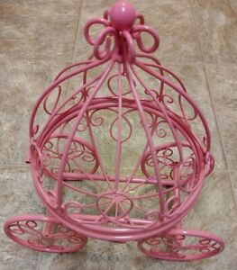 Cinderella Metal Carriage PInk Card Holder Great Home Decor