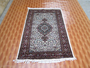Silk Beige Rugs Oriental Carpet Hand Knotted Traditional Design 3x5 Living Room