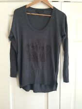 ROCK & REPUBLIC Womens Sz S Gray SWEATER Crown Stud Embellished Cotton Rayon
