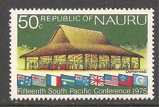 Nauru #129 (A2) VF MINT VLH - 1975 50c Domaneab (Meeting House) & Flags
