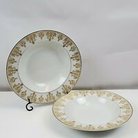 """Set of 2 HAVILAND LIMOGES """"TRIANON"""" Gold China Soup Bowls 7 7/8"""" France"""