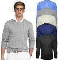 Mens Plain Classic Chunky Cable Knitted Crew Round Neck Knitwear Jumper Sweater