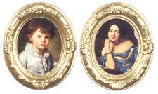 2 ovale oro incorniciato ritratti, doll House Miniatura, Scala 1,12,
