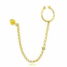 9ct Gold Ear Cuff & Stud Single Earring with Belcher Chain Wrap Link