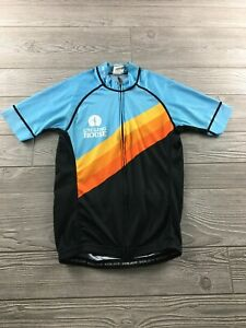 Voler USA mens Cycling Jersey Teal and orange  Performance Sz Small Full Zip