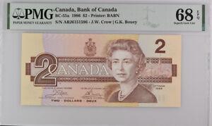 Canada 2 Dollars 1986 P 94 Crow Bouey Superb Gem UNC PMG 68 EPQ Top Pop