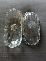 (2) Vintage Anchor Hocking Clear Glass Banana Split Dish Starburst Pattern