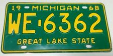 1968 ORIGINAL MICHIGAN STATE AUTO LICENSE PLATE WE-6362 CLASSIC VINTAGE VEHICLE