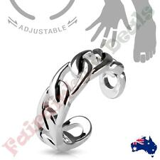 Silver Rhodium Plated Linked Chain Adjustable Toe Ring/Mid Ring