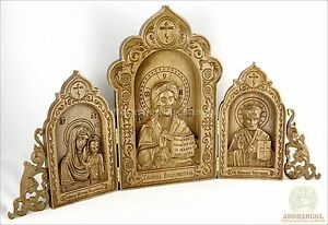 """12"""" Religious Wooden Carved Triptych God Almighty Our Lady Of Kazan St Nicolas"""