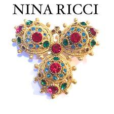 NINA RICCI COUTURE GOLD CRYSTAL BROOCH PIN