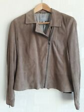 PURE COLLECTION Suede Biker Jacket Soft Mink Taupe Real Leather NEW BNWT