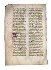 RARE, MEDIEVAL ILLUMINATED MANUSCRIPT LEAF ON VELLUM, 14th CENTURY, c.1300-1399