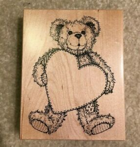 Teddy Bear Holding Heart Wood Mounted Rubber Stamp 9.5 cm x 12 cm K-1421 PSX