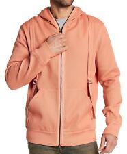 Helmut Lang Men's Long Sleeve Suspender Hooded Zip Front Sweater Persimmon M