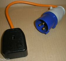 UK EU Camping Caravan Plug Generator-Adapter Fly-Lead Socket cable 1G BLACK