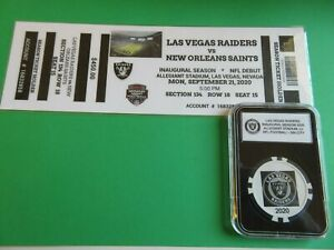 LV RAIDERS 2020 NFL (FANTASY TICKET) 1st HOME GAME 9-21-2020 + COLLECTOR CHIP
