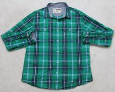 Urban Pipeline Green Dress Shirt Long Sleeve Striped Large Cotton 2 Pocket 1-98