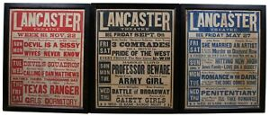 3 Antique 1930s Lancaster Theatre Movie Marquee Posters Signs Theater Artwork