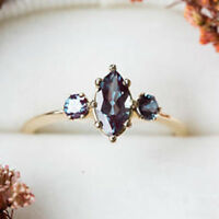 Unique Jewelry 18k Yellow Gold Filled Sapphire Alexandrite Wedding Rings Women